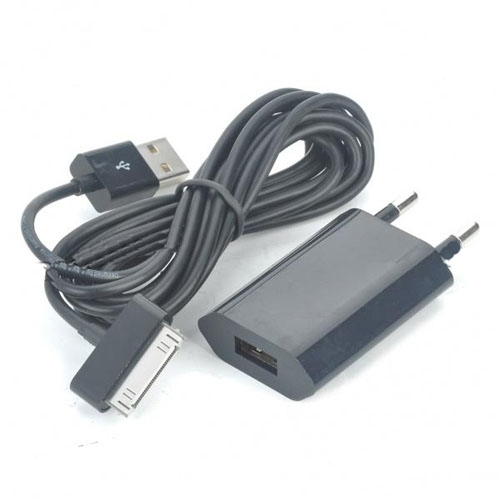 AC Power Adapter + USB Data Cable & Charging Kit for iPad/iPhone 3GS/4G -Black