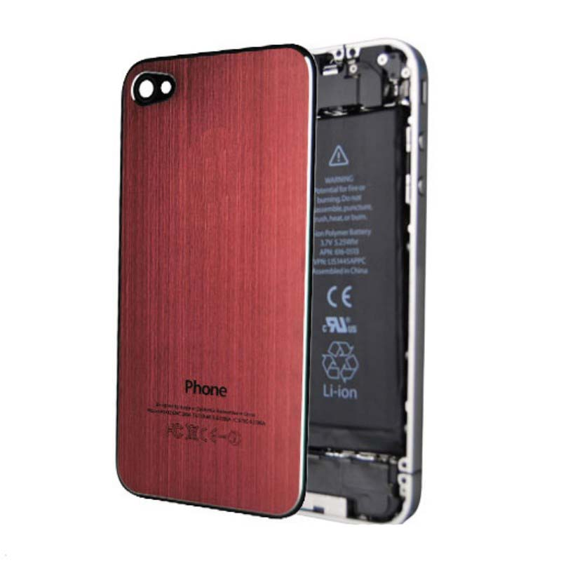 iPhone 4S Brushed Metal Back Cover Plate - Red