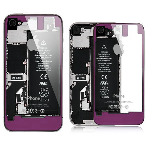 iPhone 4S Transparent Glass Back Cover - Purple