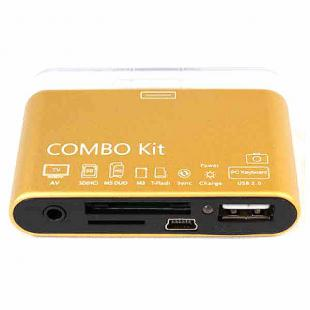Buy Camera Connection Combo Kit Card Reader w/ AV Cable for iPad/iPhone 4/iPod - Golden 1