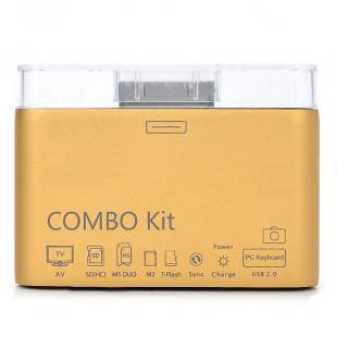 Camera Connection Combo Kit Card Reader w/ AV Cable for iPad/iPhone 4/iPod - Golden