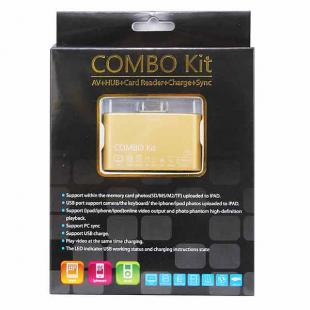 Buy Camera Connection Combo Kit Card Reader w/ AV Cable for iPad/iPhone 4/iPod - Golden 3