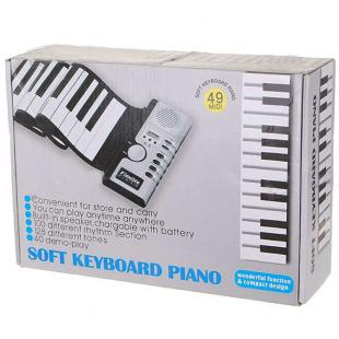 foldable digital piano keyboard w power adapter 49 key electric gift. Black Bedroom Furniture Sets. Home Design Ideas