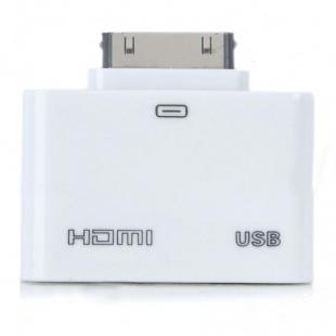 Buy HDMI + USB Host Adapter for iPad 2/iPad/iPhone 4/iPod Touch 4 - White 1