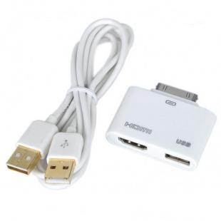 HDMI + USB Host Adapter for iPad 2/iPad/iPhone 4/iPod Touch 4 - White