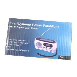Buy Hand Cranked Dynamo + Solar Powered 3-LED White Light Flashlight with Radio and Alarm 5