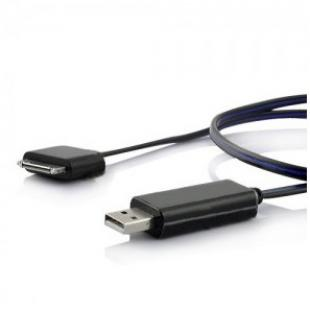LED Blue Light USB Power Charge & Data Sync Cable for iPhone iPad iPod - Black
