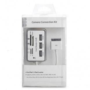 Comprare Multi-Function TF/M2/SD/MMC/MS/MS DUO Card Reader + 3-Port HUB per iPad / iPad 2 1