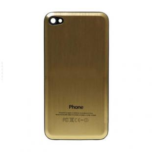 iPhone 4S Beveled Brushed Metal Back Cover Plate - Gold