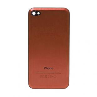 iPhone 4S Beveled Brushed Metal Back Cover Plate - Orange