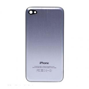 iPhone 4S Beveled Brushed Metal Back Cover Plate - Silver