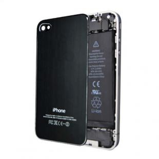 iPhone 4S Brushed Metal Back Cover Plate - Black