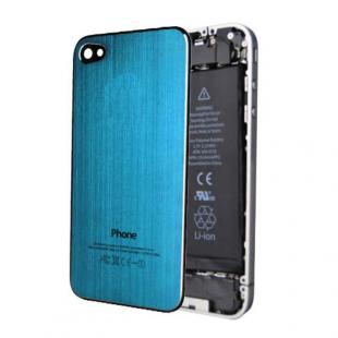 iPhone 4S Brushed Metal Back Cover Plate - Electric Blue