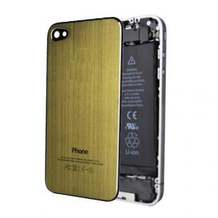 iPhone 4S Brushed Metal Back Cover Plate - Gold