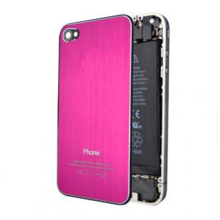 iPhone 4S Brushed Metal Back Cover Plate - Hot Pink
