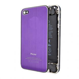 iPhone 4S Brushed Metal Back Cover Plate - Purple