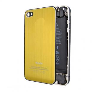 iPhone 4S Premium Brushed Metal Back Cover Plate - Gold