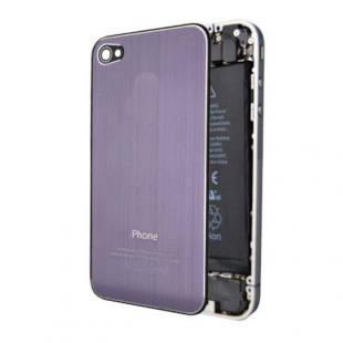 iPhone 4S Premium Brushed Metal Back Cover Plate - Purple