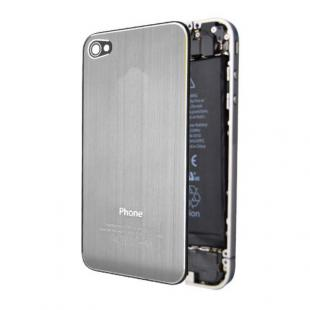 iPhone 4S Premium Brushed Metal Back Cover Plate - Silver