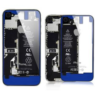 iPhone 4S Transparent Glass Back Cover - Blue on Black Frame