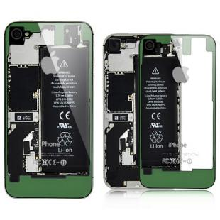 iPhone 4S Transparent Glass Back Cover - Green on Black Frame