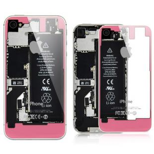 iPhone 4S Transparent Glass Back Cover - Pink